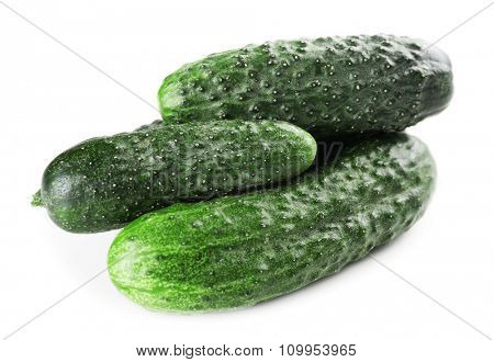 Ripe cucumbers isolated on white