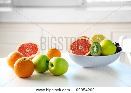 Fresh fruits on table, close up