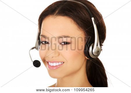Attractive african call center operator.