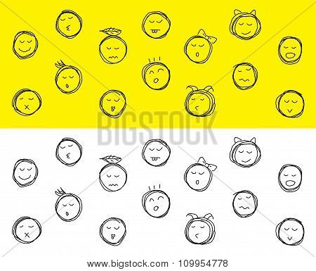 Drawing set of cartoon different emotions- Stock Illustration