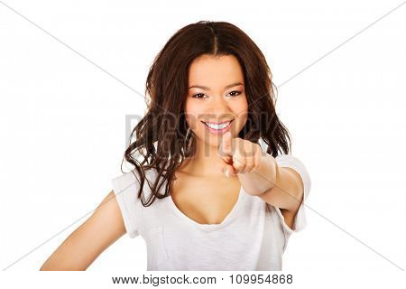 Young student african woman pointing on you
