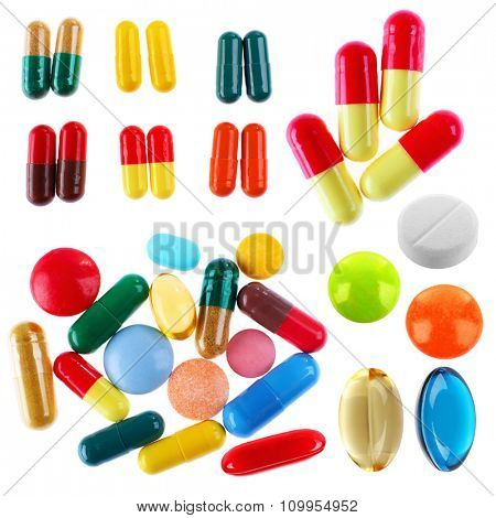 Different pills in collage isolated on white