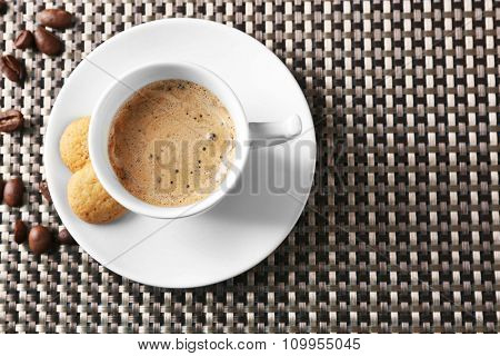 Cup of coffee on dark background