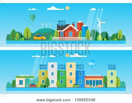 Two horizontal banners. red house on a background of hills and trees. The use of renewable energy sources. Ecosystem. The eco-friendly city