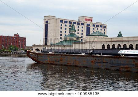 Barge on the Des Plaines River