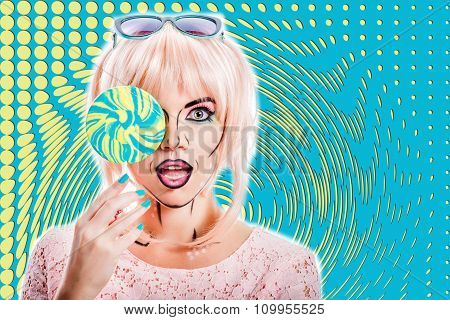 Girl With Makeup In The Style Of Pop Art And Lollipop. Color Background