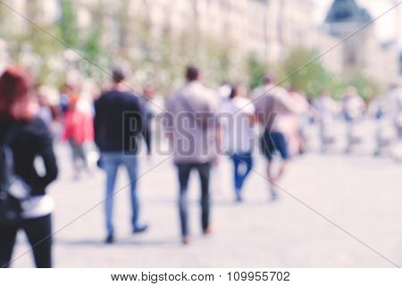 Blurred streets of city Moscow