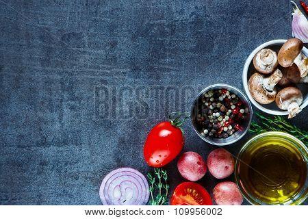 Ingredients On Vintage Background