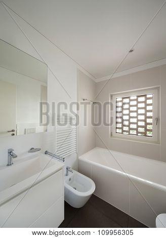 interior of new apartment, modern bathroom