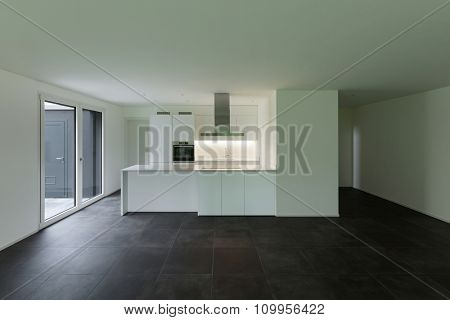 interior of empty apartment, wide room with kitchen