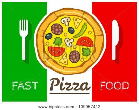 Italian pizza fast food vector. vector illustration. Transparent objects used for lights and shadows drawing.