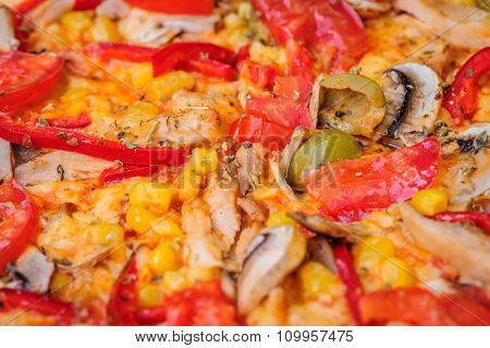 pizza closeup, can be used as background, selective focus, bokeh