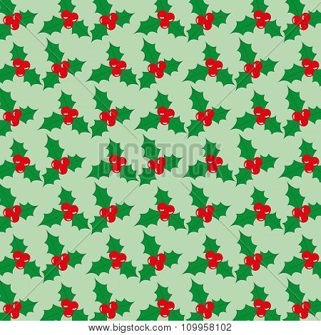 Christmas Seamless Pattern With Berries On A Green Background