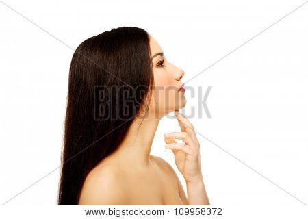 Beautiful sensual spa woman with full make up.
