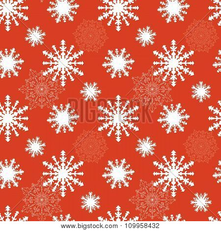 Vector Christmas Seamless Pattern With Snowflakes