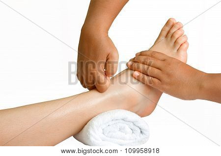 Thai Foot Massage, Spa Foot Oil Treatment With Path On White Background