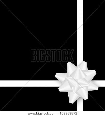White bow cross ribbon on black background