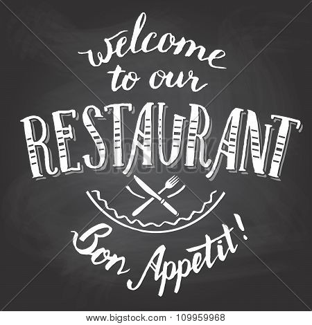 Welcome To Our Restaurant Chalkboard Printable