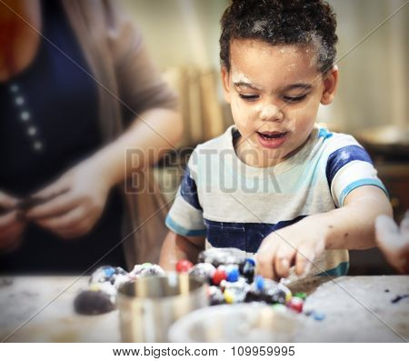 Little Boy Family Baking Homemade Cookie Concept