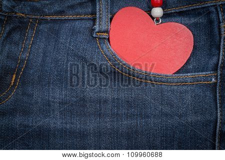 Jeans Background With Wooden Heart.valentine's Day.