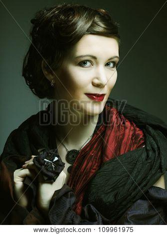Romantic Beauty.Retro Style. Young woman.