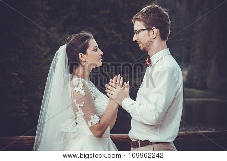 wedding couple near carpathian mountain