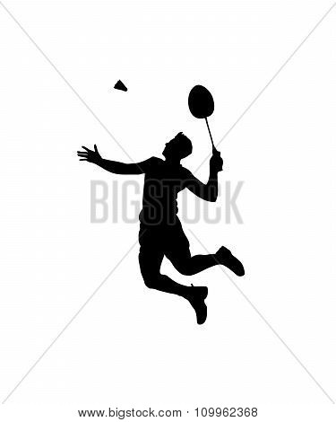 Silhouette Of Professional Badminton Player. Smash Shot