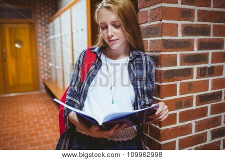 Focused student studying leaning against the wall at the university