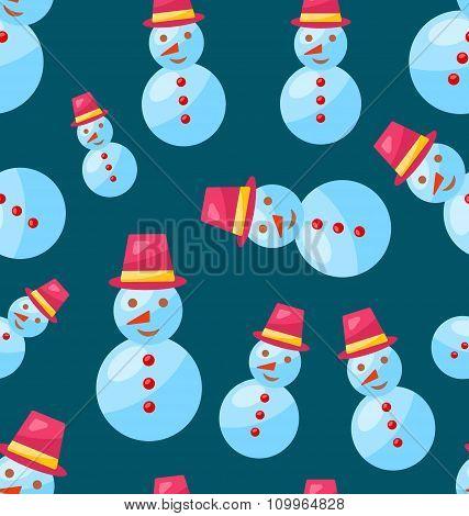 Seamless Christmas pattern snowman