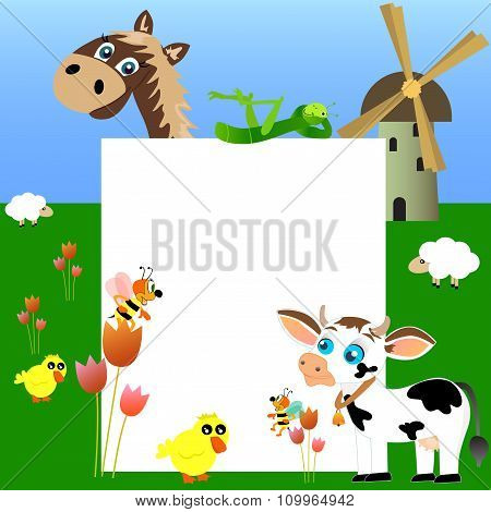 Farm with blank paper.