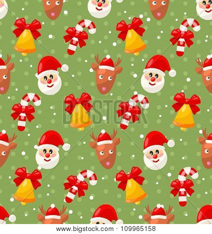 Seamless pattern with Santa Claus and Christmas deer