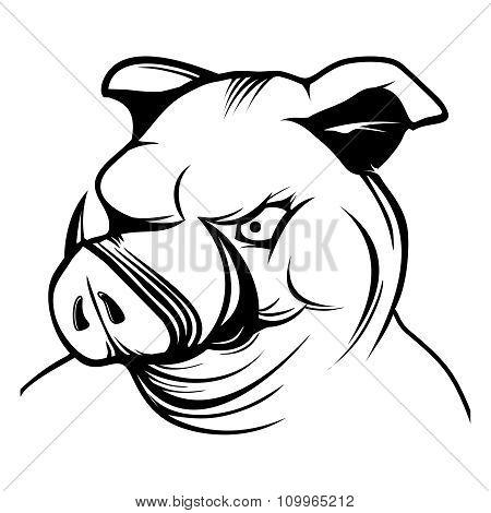 Vector Pig Head Cartoon Mascot Character Illustration