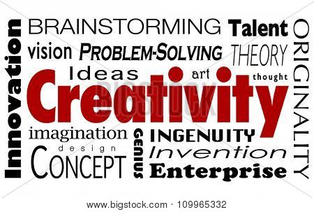 Creativity word collage with innovaiton, ideas, imagination, vision, problem solving, design, concepts, art, thought and originality