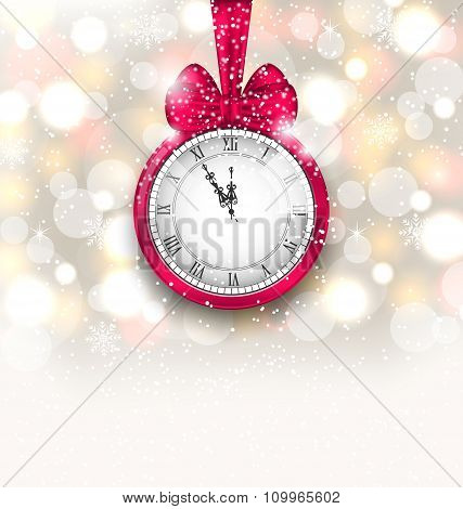 New Year Midnight Sparkling Background with Clock