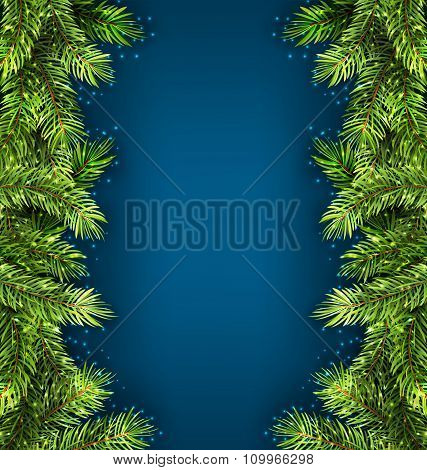 Natural Framework with Fir Twigs, Copy Space for Your Text