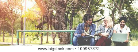 Students Fun Bonding Friendship Happiness Togetherness Concept