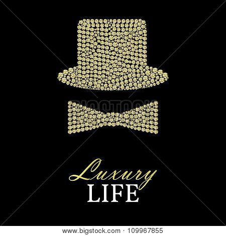 Bowler Hat Or Cylinder And Bow Made Of Yellow Rhinestones