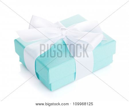 Gift box with bow. Isolated on white background