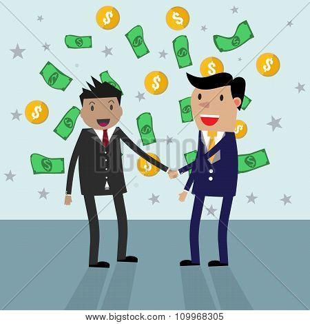 Handshake money bg in flat style