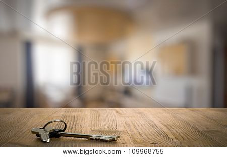 keys on wooden table in the living room