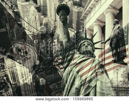 New York City, United States of America - Collage containing several New York landmarks and symbols