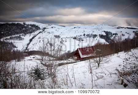 Spectacular winter landscape in the mountains