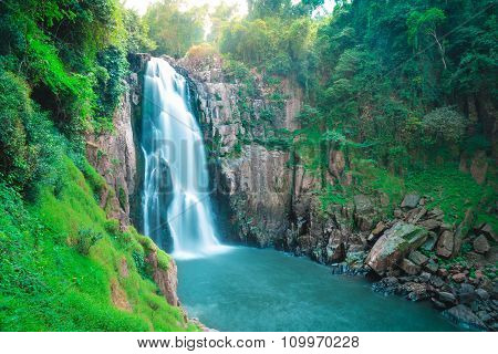 Beautiful Deep Forest Waterfall At Haew Narok Waterfall, Khao Yai National Park, Thailand