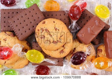 Heap Of Colorful Candies And Cookies, Too Many Sweets