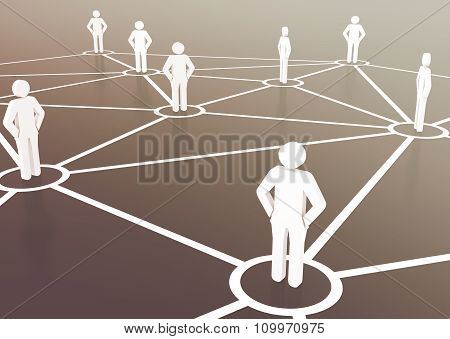 Group of people talking in social business network