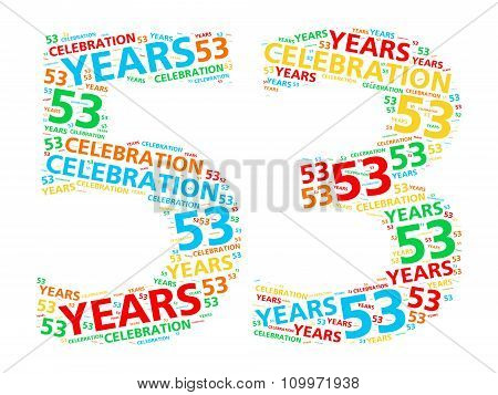 Colorful word cloud for celebrating a 53 year birthday or anniversary