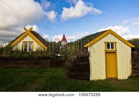 19th century turf houses and a church at Glaumbaer farm