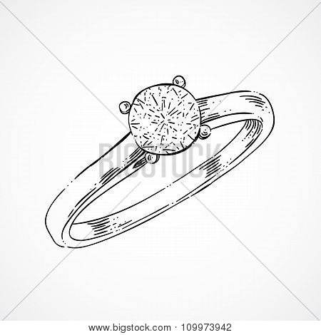 Hand sketched ring jewelry decoration with diamond. Engagement ring and wedding ring.