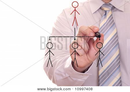 businessman drawing social network
