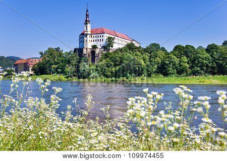 Castle And Elbe River, Decin Town, Czech Republic